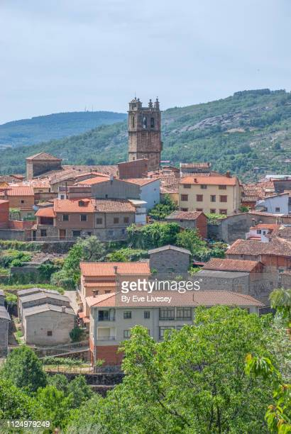 high-angle view of the village of garganta la olla - extremadura stock pictures, royalty-free photos & images