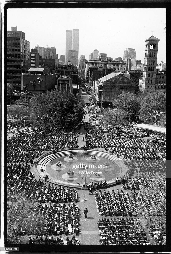 NYU Graduation In Washington Square Park : News Photo