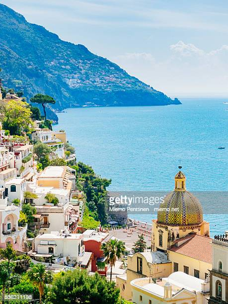 A high-angle view to hillside town of Positano, Amalfi coast