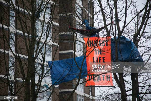 Highbury Corner tree protection camp on the 8th of February 2021 in London,United Kingdom. Activists have occupied the land for months as they are...