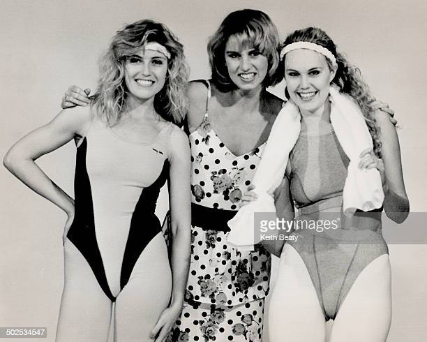 Highcut and neonbright Double gold Olympics champ Carolyn Waldo at centre shown with models will promote new line of activewear for Sears Canada