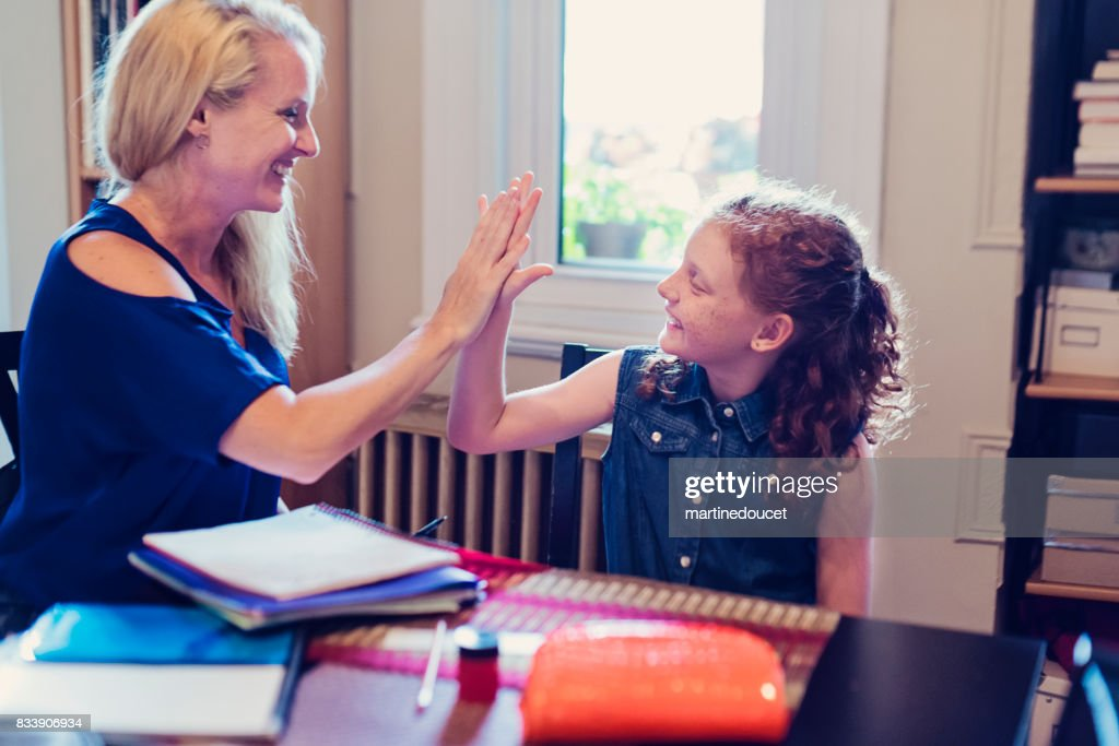 Highfive Between Mother And Daughter After Finishing School