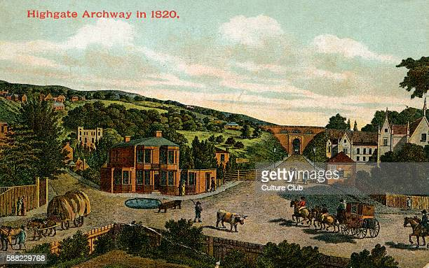 Highgate Archway in 1820 London UK
