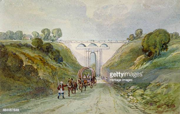 Highgate Archway viaduct, London, c1820. View showing horse-drawn vehicles. The viaduct was designed by John Nash and built in 1813. It was...