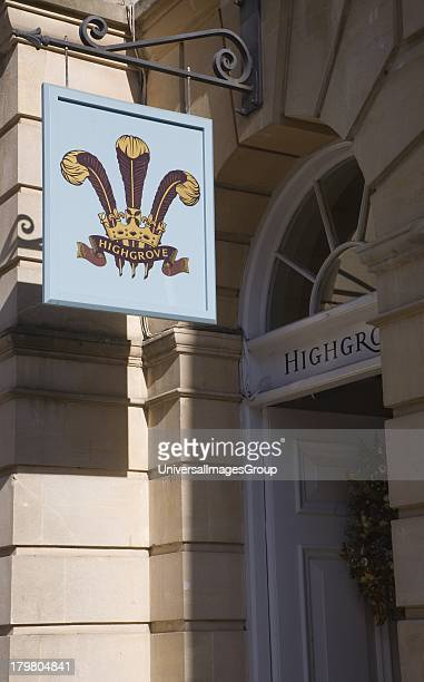 Highgrove shop sign Milsom Street Bath Somerset England the brand of products endorsed by The Prince of Wales Prince Charles