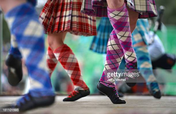Highland dancers compete at the Braemar Highland Games at The Princess Royal and Duke of Fife Memorial Park on September 1 2012 in Braemar Scotland...
