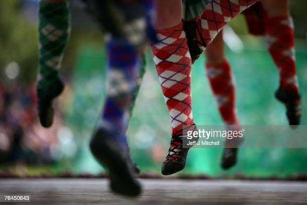 Highland dancers compete at the Braemar Highland Games Gathering at the Princess Royal and Duke of Fife Memorial Park on September 1 2007 in Braemar...