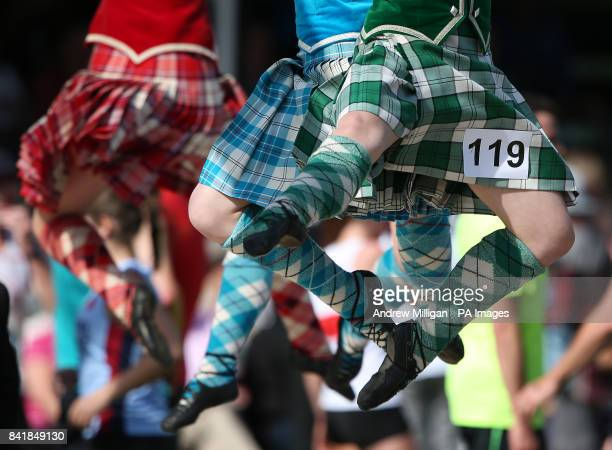 Highland dancers during the Braemar Royal Highland Gathering at the Princess Royal and Duke of Fife Memorial Park Braemar