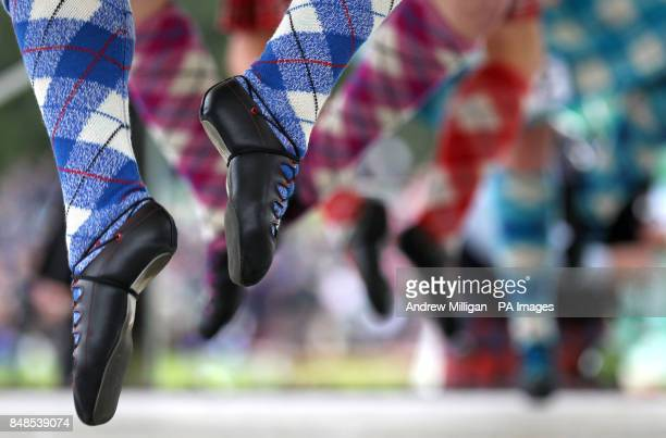 Highland dancers feet during competition at the Braemar Gathering in the Princess Royal and Duke of Fife Memorial Park in Braemar