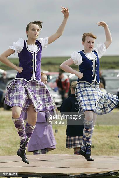Highland dancers perform at the Mey Highland Games at Queens Park in Mey on August 6 2005 in Caithness Scotland