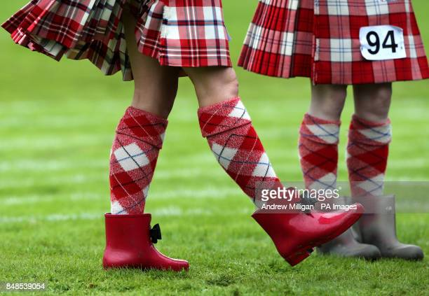 Highland dancers prepare for competition at the Braemar Gathering in the Princess Royal and Duke of Fife Memorial Park in Braemar