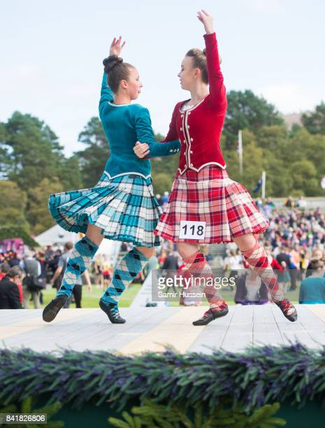 Highland dancers take part in the 2017 Braemar Highland Gathering at The Princess Royal and Duke of Fife Memorial Park on September 2 2017 in Braemar...