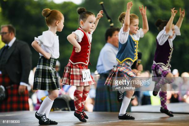 Highland dancers take part in the Inveraray Highland Games on July 18 2017 in Inverarary Scotland The Games celebrate Scottish culture and heritage...