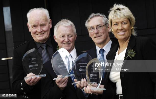 Highland games athlete Bill Anderson bowls player Willie Wood 10000 metres runner Lachie Stewart and women's footballer Rose Reilly at the National...