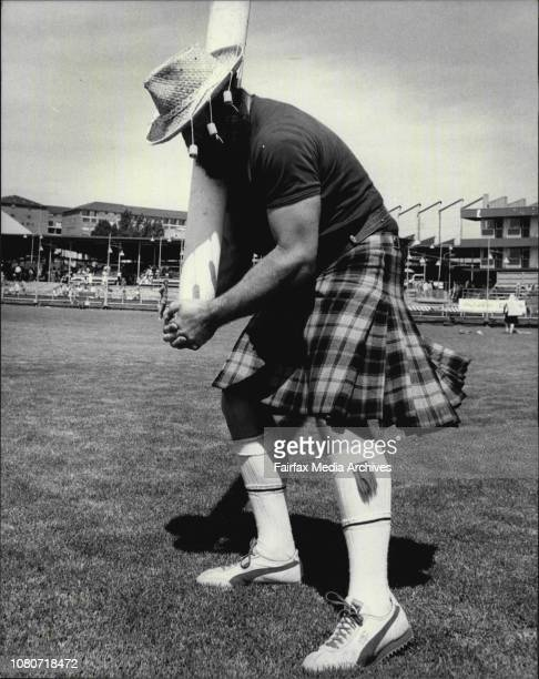 Highland Games Wentworth Park Peter warming up for the caber throwing eventAustralian Peter Binks from Violet Town NSW has Australian and Irish...