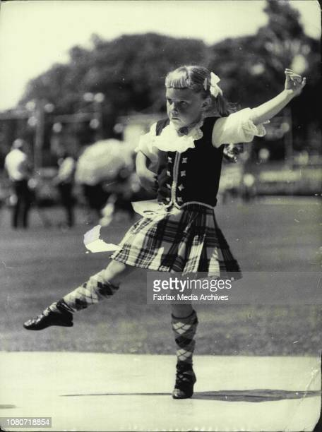 Highland Gathering, Wentworth Park -- Linda Wilson Revesby, competes in the Seann Truibhas. January 1, 1971. .