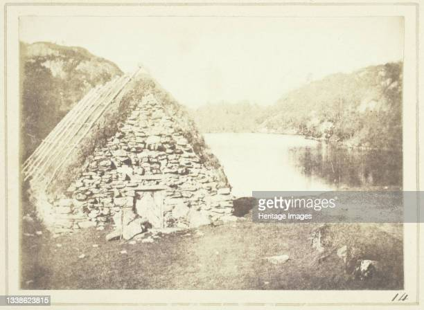 Highland Hut on the Banks of Loch Katrine, 1844. A work made of salted paper print, plate xiv from the album 'sun pictures in scotland' . Artist...
