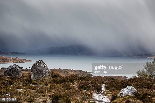 highland rain on loch torridon - torrential rain stock pictures, royalty-free photos & images