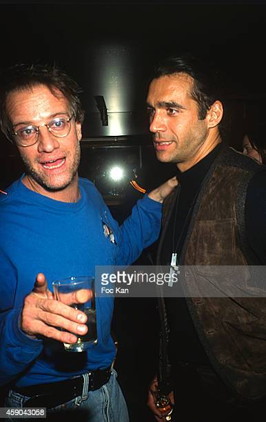 Highlander actors Christophe Lambert and Adrian Paul attend a Party at Les Bains Douches in the 1990s in Paris France