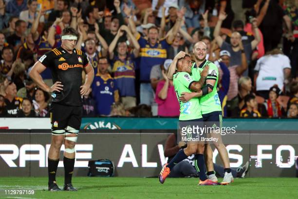 Highlanders Aaron Smith and Matt Faddes celebrate during the Chiefs v Highlanders Super Rugby Round 1 match at FMG Stadium Hamilton on February 15...