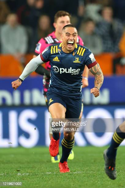 Highlanders' Aaron Smith celebrates a drop goal during the Super Rugby match between the Otago Highlanders and Waikato Chiefs at Forsyth Barr Stadium...