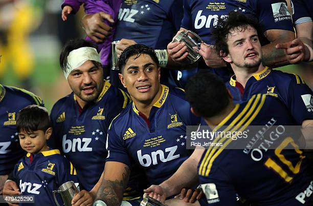Highlanders Ash Dixon Malakai Fekitoa and Richard Buckman of the Highlanders during the Super Rugby Final match between the Hurricanes and the...