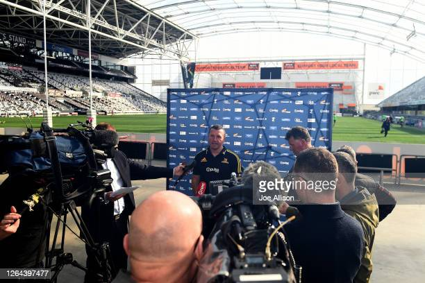 Highlanders coach Aaron Mauger answers questions from the media following a Highlanders Super Rugby training session at Forsyth Barr Stadium on...