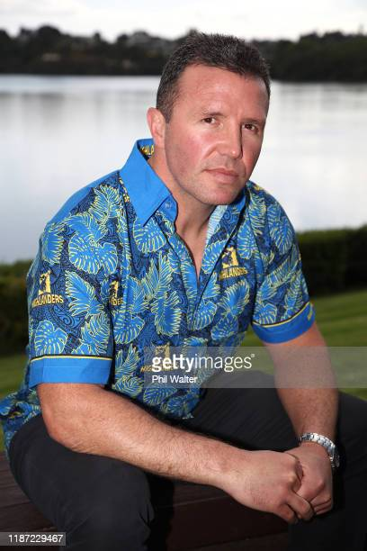 Highlanders coach Aaron Mauger during the Super Rugby Super Signing Day at the Waipuna Hotel and Conference Centre on November 13 2019 in Auckland...