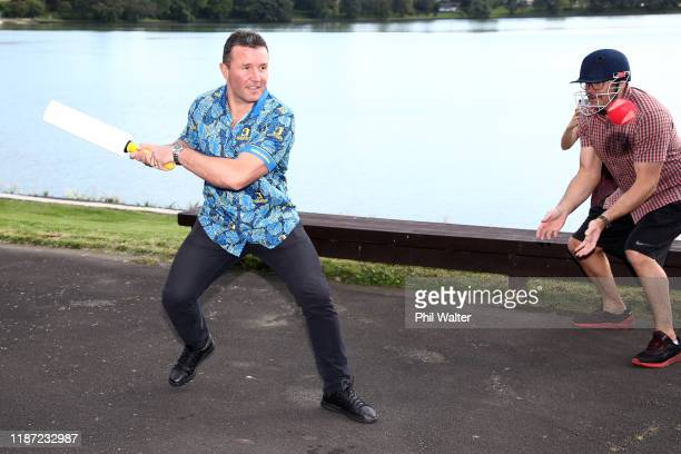 Highlanders coach Aaron Mauger plays a game of backyard cricket during the Super Rugby Super Signing Day at the Waipuna Hotel and Conference Centre...