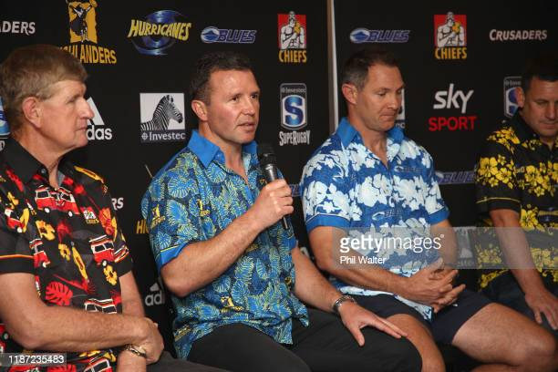 Highlanders coach Aaron Mauger speaks to the media during the Super Rugby Super Signing Day at the Waipuna Hotel and Conference Centre on November 13...