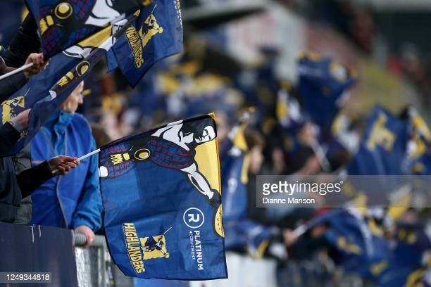 Highlanders fans during the round 1 Super Rugby Aotearoa match between the Highlanders and Chiefs at Forsyth Barr Stadium on June 13, 2020 in...
