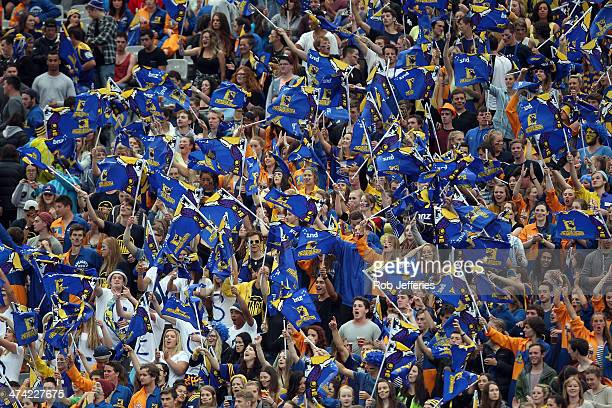 Highlanders fans during the round two Super Rugby match between the Highlanders and the Blues at Forsyth Barr Stadium on February 22 2014 in Dunedin...
