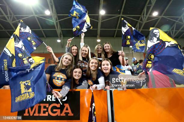Highlanders fans show their support during the round 1 Super Rugby Aotearoa match between the Highlanders and Chiefs at Forsyth Barr Stadium on June...