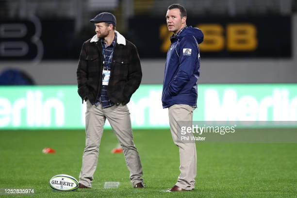 Highlanders head coach Aaron Mauger and assistant coach Tony Brown during the round 3 Super Rugby Aotearoa match between the Blues and the...