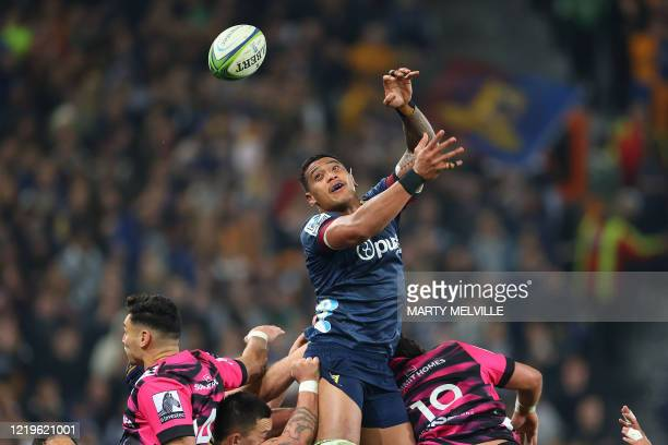 Highlanders' Shannon Frizell jumps for the ball during the Super Rugby match between the Otago Highlanders and Waikato Chiefs at Forsyth Barr Stadium...