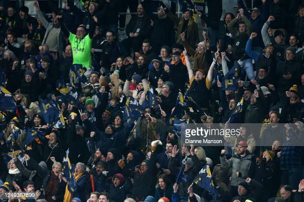Highlanders supporters watch during the Super Rugby match between the Highlanders and Chiefs on June 13, 2020 in Dunedin, New Zealand.