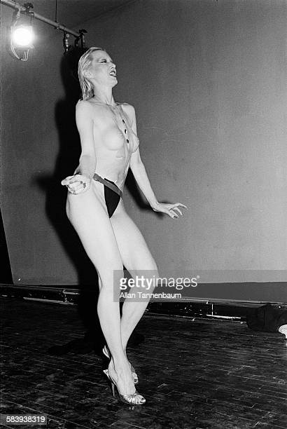 Highlight of the fashion show at Pravda on Crosby St in SoHo New York New York November 8 1979 The first event was a party for Wet Magazine and a...