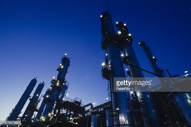 Highlighting the lights on a refinery at night