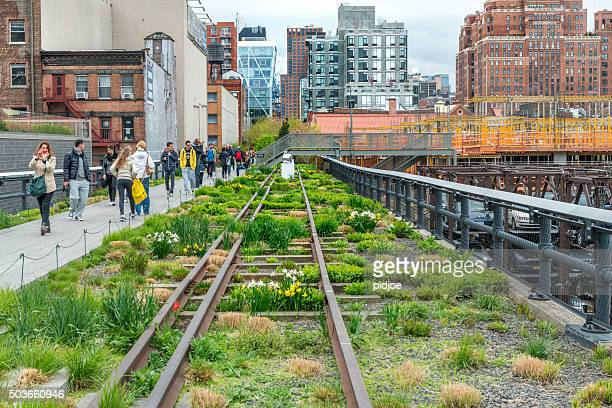 highline elevated park - chelsea new york stock photos and pictures