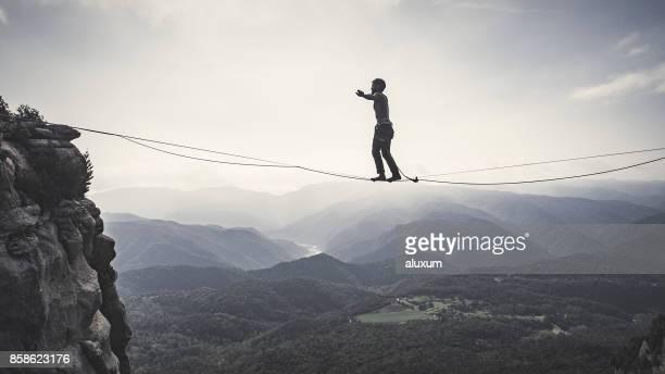 Highliner on tightrope