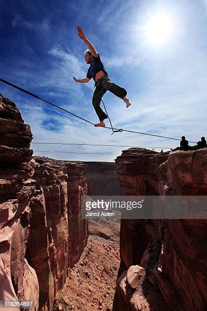 Highlining at the Fruit Bowl in Moab, Utah.