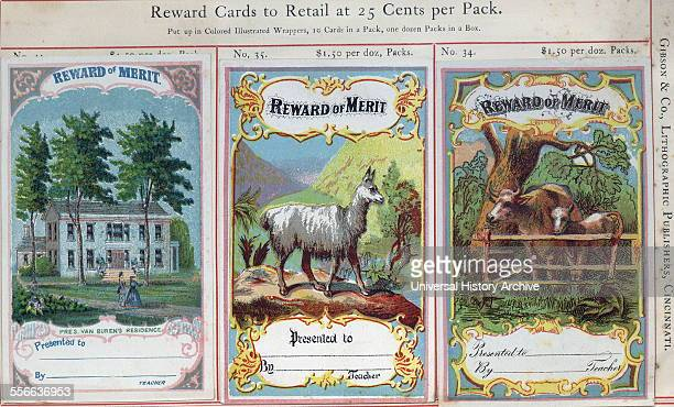 Highly coloured educational 'Reward Cards' for American children who have achieved high levels in school during the early 20th Century. Dated 1905.