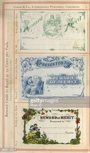 Highly coloured educational 'Reward Cards' for American children who have achieved high levels in school during the early 20th Century Dated 1905