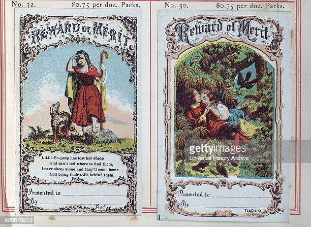 Highly coloured 'Reward cards' or certificates, were used for children who had achieved distinction in schools in the USA during the first decade of...
