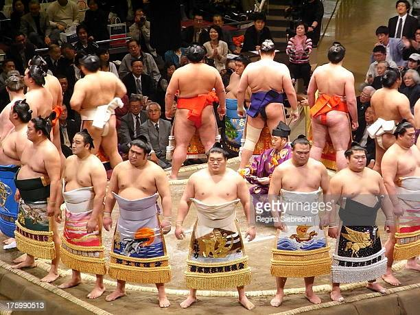 Highly decorated sumo fighters entering the ring before the fight, sumo, fighters, apron, Japan,