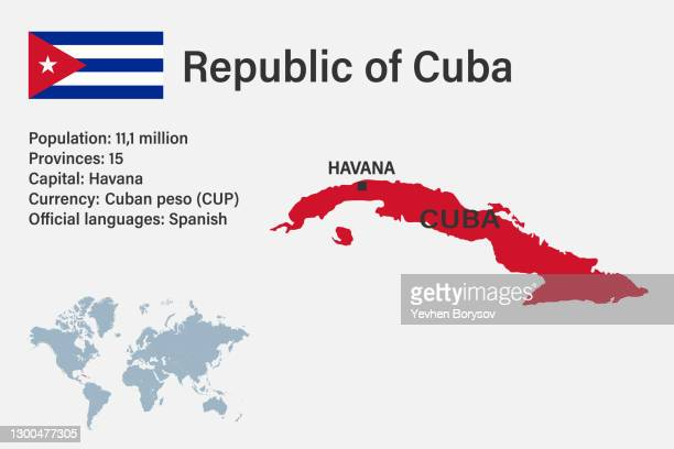 highly detailed cuba map with flag, capital and small map of the world - cuba stock pictures, royalty-free photos & images