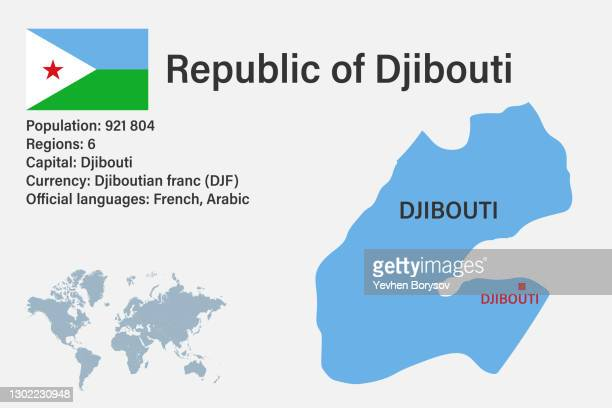 highly detailed djibouti map with flag, capital and small map of the world - djibouti stock pictures, royalty-free photos & images