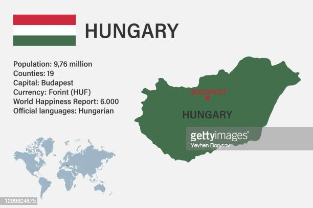 highly detailed hungary map with flag, capital and small map of the world - hungary stock pictures, royalty-free photos & images