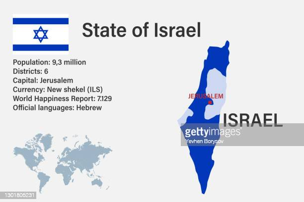 highly detailed israel map with flag, capital and small map of the world - ukraine stock pictures, royalty-free photos & images