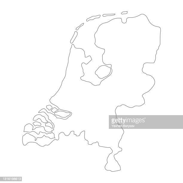highly detailed netherlands map with borders isolated on background - territory stock pictures, royalty-free photos & images